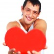 Young man with a heart — Stock Photo #1795750