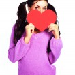 Girl with a Valentine card — Stock Photo #1796872