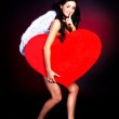 Girl with a heart — Stock Photo