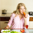 Sad girl keeping a diet — Stock Photo