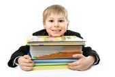 Schoolboy with books — Stock Photo