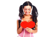 Girl with a Valentine card — Stockfoto
