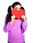 Girl with a Valentine card — Stok fotoğraf