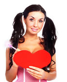 Mädchen mit einer valentinskarte — Stockfoto