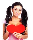 Ragazza con una cartolina di san valentino — Foto Stock