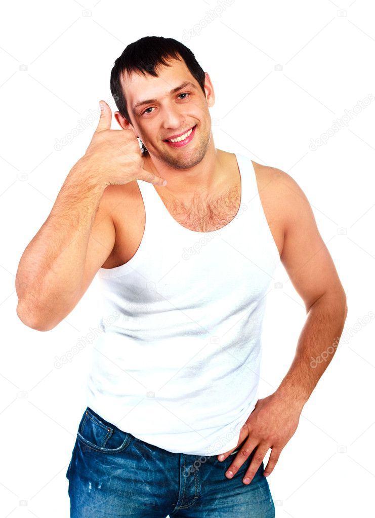 Handsome young man showing a call me sign  Stock Photo #1795788