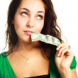 Stock Photo: woman with one nudred dollars