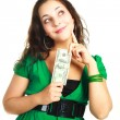Stock Photo: Pretty girl with one hundred dollars