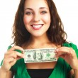 Woman with one hundred dollars — Stock Photo