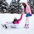 Two girls ice skating — Stock Photo #1809454