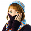 Beautiful girl feels cold - Stock Photo