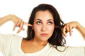 Girl refusing to listen — Stock Photo