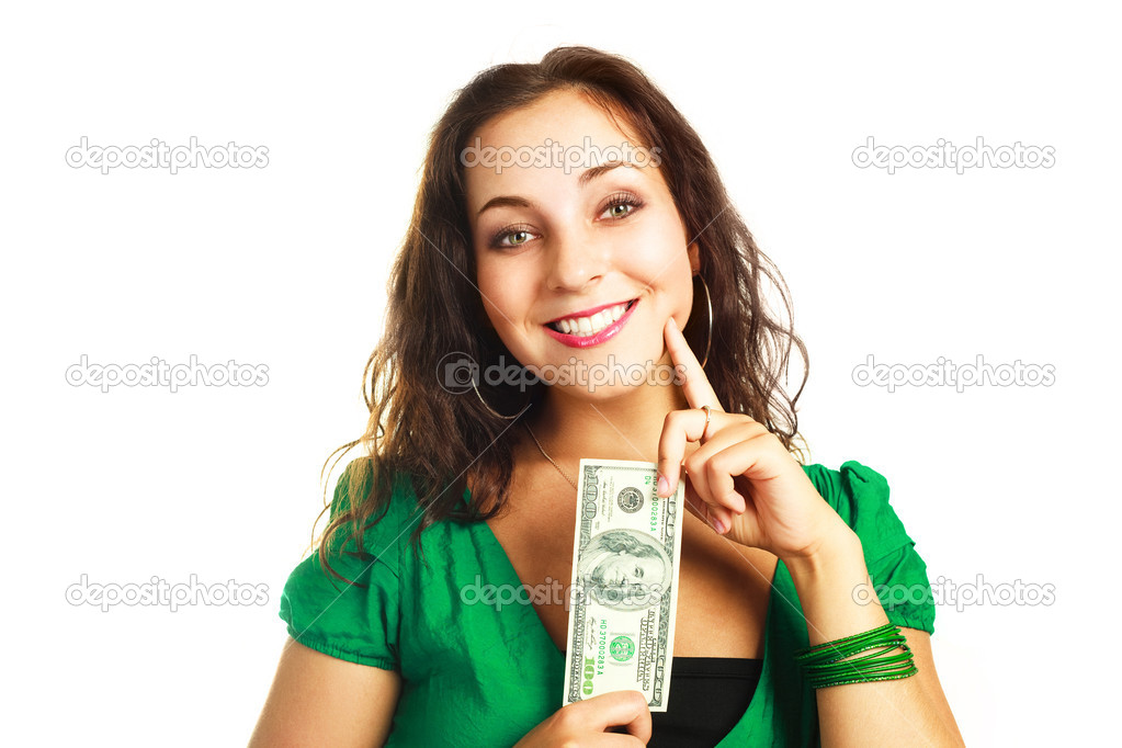 Beautiful young brunette woman with one hundred dollar banknote — Stock Photo #1801431
