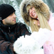 Couple in winter park - Stockfoto