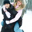 Young couple in winter park — Foto Stock