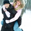Young couple in winter park — Stock fotografie