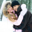 Couple in winter park — Stock Photo #1810289