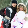 Happy couple with snowboards — Stock Photo #1810370