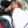 Happy couple with snowboards — Stock Photo #1810398