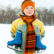 Boy going ice skating — Foto Stock