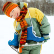 Stock Photo: Boy going ice skating