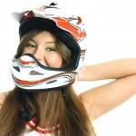 Pretty girl wearing a helmet — Stock Photo