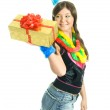 Happy girl with a present — Stock Photo