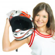 Woman holding a motorcycle helmet — Stock Photo