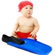 Baby with blue flippers — Stock Photo