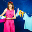 Young housewife - Stock Photo