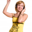 Young woman listening to the music — Stock Photo