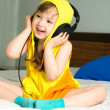 Girl listening to the music - Stock Photo