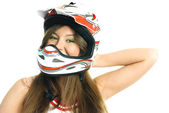 Pretty girl wearing a helmet — Stock Photo