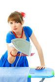 Hosuewife ironing the towel — Stock Photo