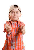Little boy with his thumbs up — Stock Photo