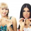 Stock Photo: Girls break up smoking