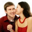Couple drink vine and kiss — Stock Photo