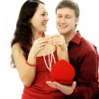 Stock Photo: Man gives a present to his wife