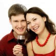 Happy couple drinking vine — Stock Photo