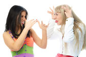 Freinds quarrel and make faces — Stock Photo
