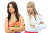 Beautiful girls have a conflict — Stock Photo