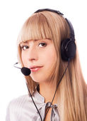 Woman in the call-center — Stock Photo
