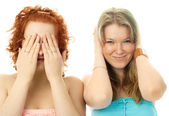 Girls with closed eyes and ears — Stock Photo