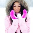 Girl with a snowball — Stock Photo #1846880