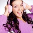 Pretty girl with earmuff — Stock Photo
