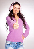 Girl with thumb up — Stock Photo