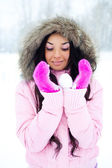 Girl with a snowball — Stock Photo