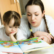 Mother and daughter reading a book — Stock Photo #1871314