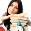 Tired student with books - Stock Photo