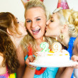 Three girls celebrating birthday — Stok fotoğraf